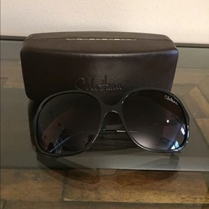 Cole Haan oversized black sunglasses with case